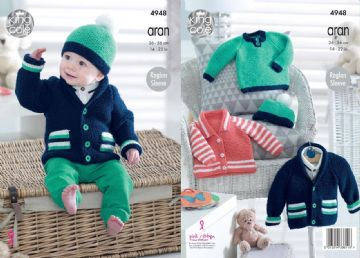King Cole Knitting Pattern - Baby, Childrens Sweater  Jacket and Hat 4948